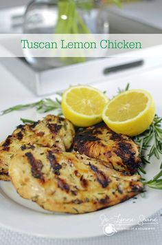 Delicious grilled chicken marinated in lemon and rosemary. via @Jo-Lynne Shane