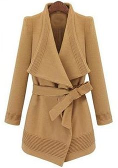 Love the Collar! Love the Design! Camel Color Belted Wool Coat
