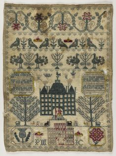 Wool canvas sampler embroidered in coloured silk threads in differet stitches showing houses, flowers, verses, initials and conventional floral and bird borders, by Jean Murray: British, 1740.