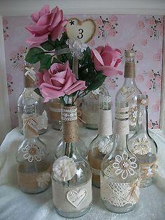 Shabby Chic Wedding Glass Bottle Centrepieces x 10 | eBay