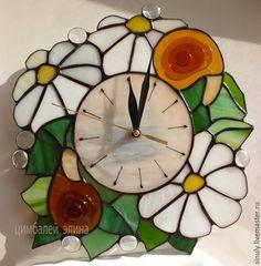 """Часы для дома ручной работы. Ярмарка Мастеров - ручная работа. Купить Витражные часы """"Улитки"""". Handmade. Разноцветный, часы для дома"""