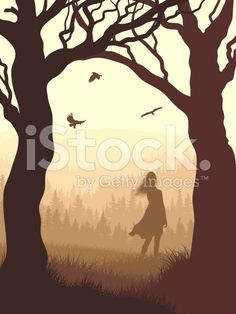 Vertical illustration within forest with silhouette girl in the morning. royalty-free stock vector art