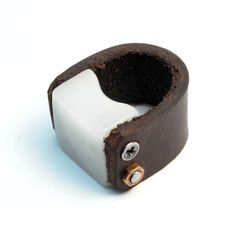 Marble and Leather ring by Blind Spot Jewellery