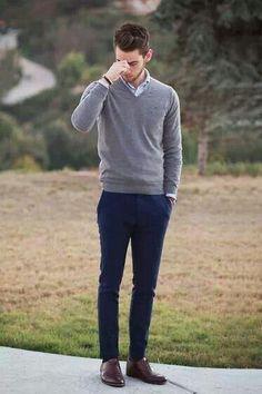 simple... blue pants + grey sweater + brown shoes + pale blue button down