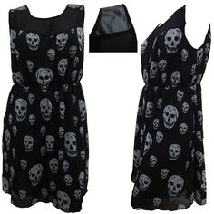NEW WOMENS ELASTICATED SKULL PRINT PVC SHOULDER PLUS SIZE DRESS 16 - 26 | eBay