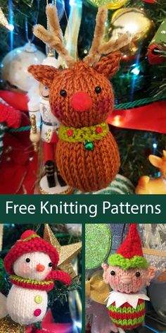 Free Knitting Pattern for Christmas Tree Ornaments Red-Nosed Reindeer, Elf, and Snowman - These holiday tree ornaments are knit flat on two needles. Toys Patterns gift ideas Free Knitting Pattern for Knitted Christmas Decorations, Knit Christmas Ornaments, Christmas Toys, Christmas Fayre Ideas, Knitting Patterns Free, Free Knitting, Free Christmas Knitting Patterns, Knitted Toys Patterns, Knitting Toys