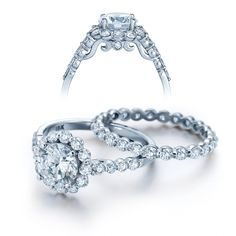 INS-7033 18K White Gold Diamond Halo Diamond Setting, for Round Center, from the