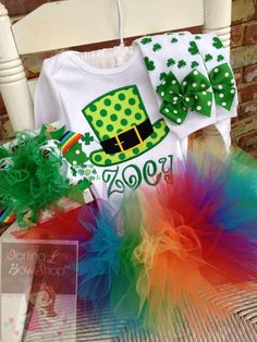 St. Patrick's Day Tutu Outfit for baby girls - Lucky Hat - Leprechaun top  hat in lime and emerald green with rainbow tutu -- birthday