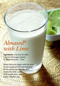 Almased with Lime love fat milk, non fat yogurt, 10 Tbsp almased, 1 lime Smoothie Drinks, Healthy Smoothies, Smoothie Recipes, Healthy Milkshake, Almased Diet Recipes, Get Thin, Meal Replacement Shakes, Diet Food List, Shake Recipes