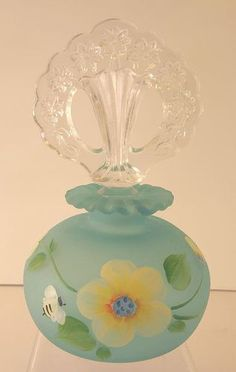 Copper Blue Satin Fenton Glass Handpainted Perfume Bottle w Stopper | eBay