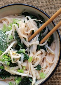 Spicy Coconut Rice Noodles with Kale and Basil {#PlatedFresh} - Joanne Eats Well With Others