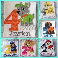 ~This listing is for 1 boys or girls chase paw patrol shirt with your childs name on it. You can add a birthday number to it if you like. Also
