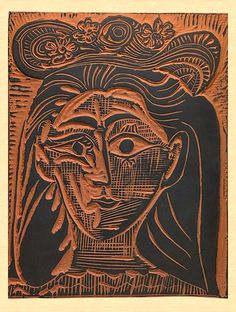 Pablo Picasso - Jacqueline in a Flowery Straw Hat, 1964. Linocut.