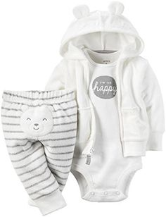 134c5532538a8 Carter s 3 Piece Terry Cardigan Set (Baby) I m So Happy White 6 Months.  Terry Cardigan Set comes with a soft terry cardigan and little bear on the  bottom