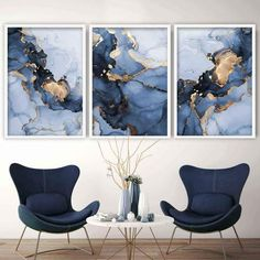 Set of 3 Abstract Art Prints of Paintings Navy Blue, Grey and Gold – Artze Wall Art Blue And Gold Living Room, Grey And Gold Bedroom, Navy Living Rooms, Living Room Art, Living Room Designs, Paintings For Living Room, Grey Wall Art, Grey Art, Blue Grey