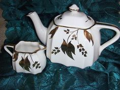 Vintage China Teapot and Creamer Gold Trim by VintageFairRetroRare, $26.00