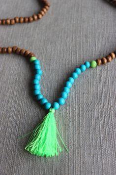 Neon Mother Nature Tassel Necklace by shopjustpeachy on Etsy, $22.00
