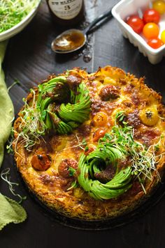 Hashbrown-Crusted California Quiche with Avocado Roses. This loaded-up quiche is a brunch-lover's dream.