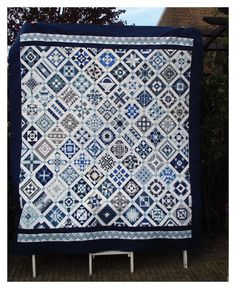 nearly insane quilt   Beautiful blue and gray. Nearly Insane quilt by Rina at ...   Quilts