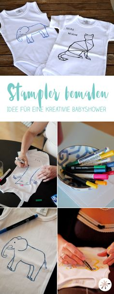 Babyshower DIY: painting the romper ideas painting the romper .-Babyshower DIY: Strampler bemalen Stampler bemalen – Ideen für eine… Babyshower DIY: paint the romper Paint the romper – ideas for a creative baby shower – baby shower game – birth gifts - Baby Shower Game Gifts, Idee Baby Shower, Shower Gifts, Juegos Baby Shower Niño, Baby Shower Invitaciones, Shower Party, Baby Shower Parties, Diy Romper, Diy Bebe