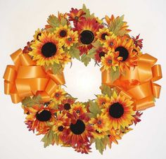 Autumn Cemetery Wreath with Sunflowers and Daisies - 18 Inch Grave Flowers, Cemetery Flowers, Country Shop, Sunflowers And Daisies, Memorial Flowers, Display Easel, Artificial, Fall Season, Greenery