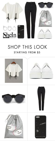 """""""Double trouble ^ with Shein.com"""" by eva-jez ❤ liked on Polyvore featuring Underground, Le Specs, Topshop, H&M, Moratorium, crazyforfashion and shein"""