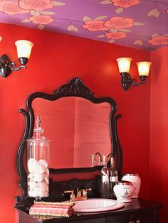 Red & Romantic...love the idea of wallpaper on the ceiling...