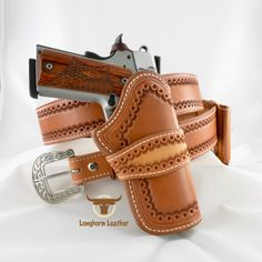 Cimarron - 1911 Holster & Gun Belt 1911 Leather Holster, 1911 Holster, Custom Leather Holsters, Gun Holster, 1911 Pistol, Leather Tooling, Tan Leather, Western Holsters, Cowboy Holsters