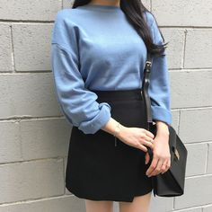 Basic Ribbed Trim Knit Sweater | mixxmix | Shop Korean fashion casual style clothing, bag, shoes, acc and jewelry for all