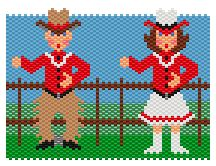 Cowpokes by Charley Hughes AKA BeadyBoop Peyote Patterns, Bead Patterns, Beaded Banners, Beads Pictures, Cowboy And Cowgirl, Pony Beads, Peyote Stitch, Brick Stitch, Bead Weaving