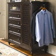 Perfect for stowing sweaters, dresses, and skirts, this 4-drawer chest features a rich tobacco finish and louvered cabinet door. A pull-out rod holds garments in style, while a drop-front compartment reveals a power outlet and audio player storage.  Product: Gentleman's chestConstruction Material: Wood and glassColor: Tobacco Features: Part of the Paula Deen Home Collection One side door with three adjustable interior shelves Pull-out clothing rod    Four center cedar bottom drawers    ...