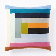 Margo Selby Linear Colourblock Crewel Cushion Cover - Multi