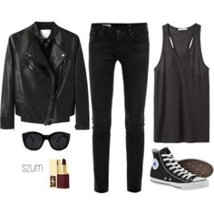 #leather #jacket #outfit #converse