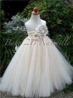 Rustic Burlap Flower Girl Dress in Ivory by Baby2BNashville