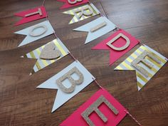Bride to Be Banner Pink Champagne Gold White. Perfect for