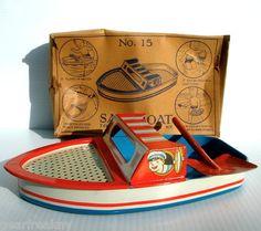 Vtg 50s T Cohn Inc Sand Boat Pail Tin Litho Toy w/Box