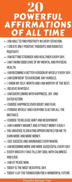 20 Powerful Affirmations Of All Time Affirmations are the best way to start your day with positivity. They can give you the boost you need for the whole day. These 20 powerful affirmations are my favorites which I swear by. Affirmations Positives, Affirmations For Women, Positive Affirmations Quotes, Self Love Affirmations, Law Of Attraction Affirmations, Money Affirmations, Affirmation Quotes, Positive Quotes, Miracle Morning Affirmations