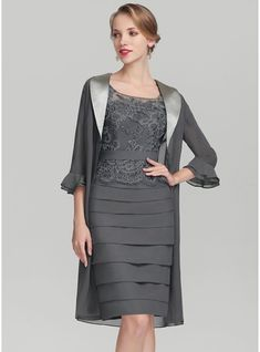 JJsHouse Sheath/Column Scoop Neck Knee-Length Ruffle Zipper Up Sleeves Short Sleeves Yes Steel Grey General Plus Chiffon Lace Mother of the Bride Dress. Wedding Guest Outfit Formal, Wedding Party Dresses, Chiffon, Bride Groom Dress, Bride Dresses, Event Dresses, Special Occasion Dresses, Mother Of The Bride, Marie