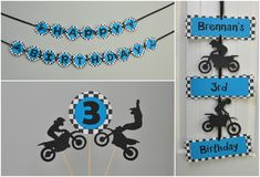 Items similar to Dirt Bike Party Banner, Motor Cross Birthday Banner on Etsy Motorcycle Birthday Parties, Dirt Bike Birthday, Motorcycle Party, Baby Boy Birthday, Third Birthday, 3rd Birthday Parties, Bicycle Party, Dirt Bike Party, Race Party
