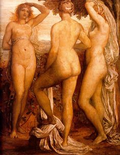George Frederick Watts ~ The Three Graces ...... Eurynome, the daughter of Ocean, beautiful in form, bare him three fair-cheeked Charites (Graces), Aglaea, and Euphrosyne, and lovely Thaleia, from whose eyes as they glanced flowed love that unnerves the limbs: and beautiful is their glance beneath their brows.