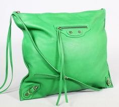 BALENCIAGA Apple Green Leather Papier Messenger Handbag BID NOW @ www.ShopLindasStuff.com