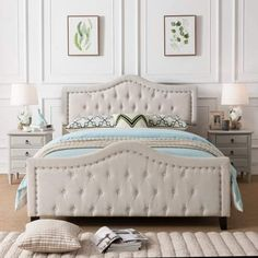 Shop Virgil Upholstered Tufted Queen Bed by Christopher Knight Home - On Sale - Overstock - 14047250 - Ivory Queen Size Bed Sets, Queen Bedding Sets, Queen Beds, Comforter Sets, King Size, Tufted Bed, Upholstered Beds, Luxury Duvet Covers, Luxury Bedding