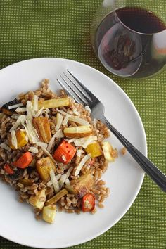 Roasted Root Vegetable Farro recipe, tossed with Parmigiano cheese, makes a substantial side dish or vegetarian main dish. Enjoy as part of your #SundaySupper meal!
