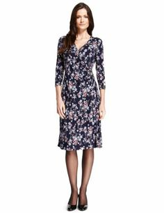 M&S Collection Multi Poppy Print Wrap Dress with StayNEW™ - Marks & Spencer