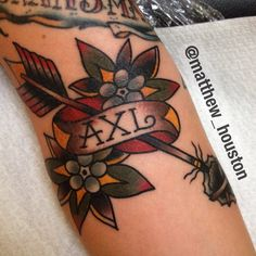 Tribute in the elbow ditch #arrow #traditional #tattoo #tribute #salonserpent