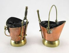 Brass and copper coal scuttles | Dolls House Miniatures