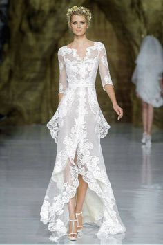 .Gorgeous lace is always in style when walking dow the aisle. #weddings #designerbride