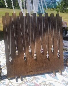 Necklace Display w/ Custom Logo- 9 Necklaces {{multi notch, wooden display, lasercut display, custom branded display, craft show display}