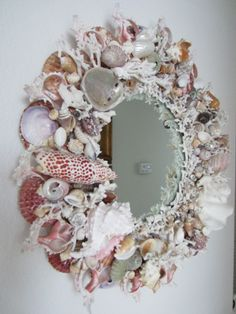 Shell Mirrors for Sale Seashell Wreath, Seashell Art, Seashell Crafts, Beach Crafts, Seashore Decor, Shell Ornaments, Shell Frame, Mirrors For Sale, Coastal Decor