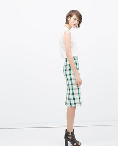 ZARA - SELECTED ITEMS -50% - CHECKED PENCIL SKIRT
